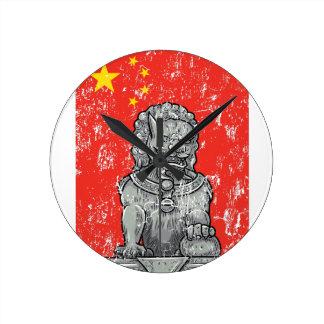 vintage china chines statue round clock