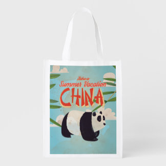 Vintage China Panda Vacation Poster Grocery Bags