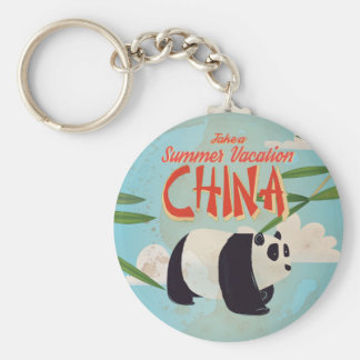Vintage China Vacation Poster Basic Round Button Key Ring