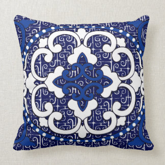 Vintage China Version II in Blue and White Cushion