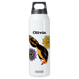 Vintage Chinese Flower Cute Bird Recycle Sign 0.5L Insulated SIGG Thermos Water Bottle