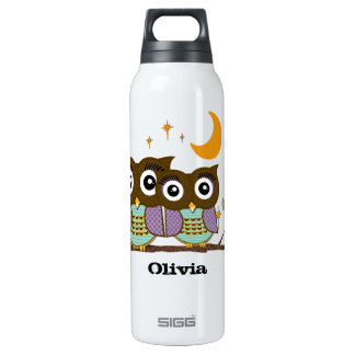 Vintage Chinese Flower Cute Owls Recycle Sign 0.5 Litre Insulated SIGG Thermos Water Bottle