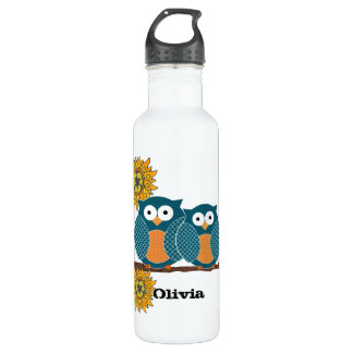 Vintage Chinese Flower Cute Owls Recycle Sign 710 Ml Water Bottle