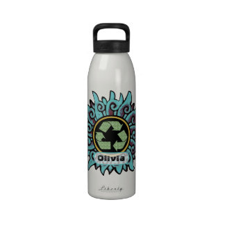 Vintage Chinese Flower Recycle Peace Sign Reusable Water Bottles