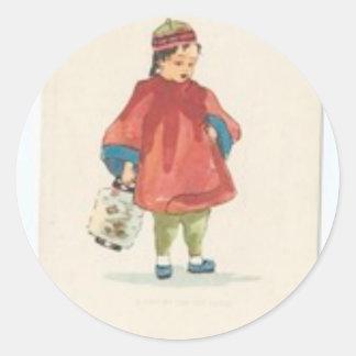 Vintage Chinese Illustration Classic Round Sticker