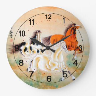 Vintage Chinese Wall Clock with Horse Motif