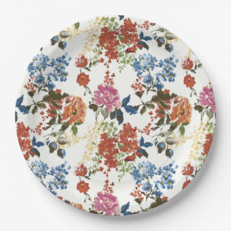 Vintage Chintz Floral Pattern Red Blue Pink Flower 9 Inch Paper Plate