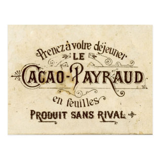 Vintage chocolate cacao advert (retro café grunge) postcard