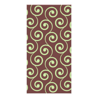Vintage Chocolate Swirl in Green Picture Card