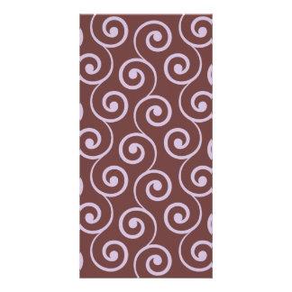 Vintage Chocolate Swirl in Lavender Photo Card