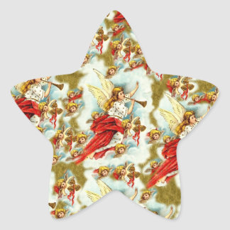 Vintage Christian Christmas Angels & cherubs Star Sticker