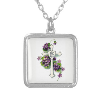 Vintage Christian Cross Silver Plated Necklace