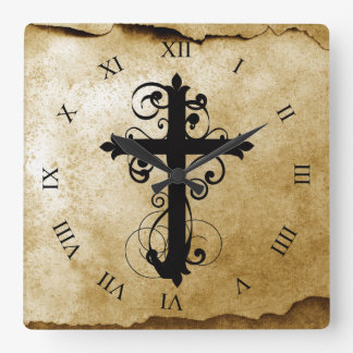 Vintage Christian Swirling Cross Square Wall Clock