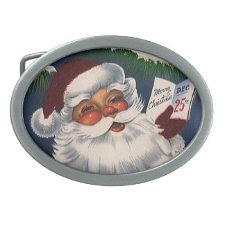 Vintage Christmas, 50s Retro Jolly Santa Claus Belt Buckles