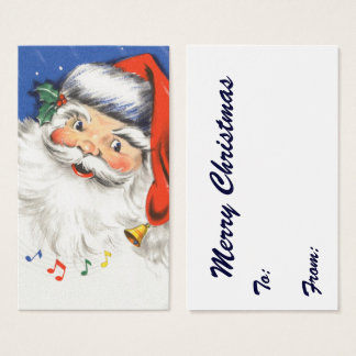 Vintage Christmas, a Jolly Santa Claus w Music Business Card