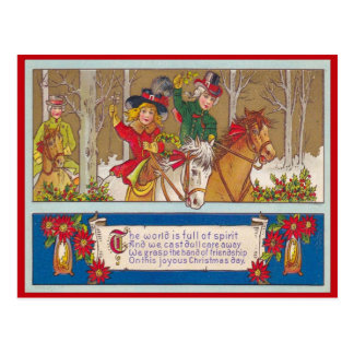 Vintage Christmas,  A ride in the forest Postcard