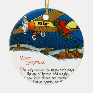 Vintage Christmas Airplane Ceramic Ornament