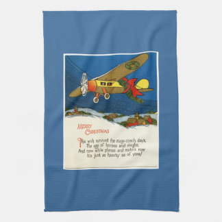Vintage Christmas Airplane Kitchen Towels
