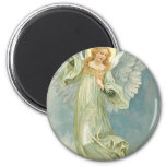 Vintage Christmas Angel 6 Cm Round Magnet