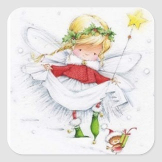 Vintage Christmas Angel and Mouse Sticker