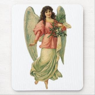 Vintage Christmas Angel, Angelic Victorian Die Cut Mousepad