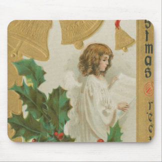 Vintage Christmas Angel, Bells and Holly Mouse Pad