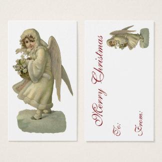 Vintage Christmas Angel Flowers, Victorian Die Cut Business Card