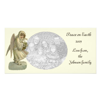 Vintage Christmas Angel Flowers, Victorian Die Cut Picture Card
