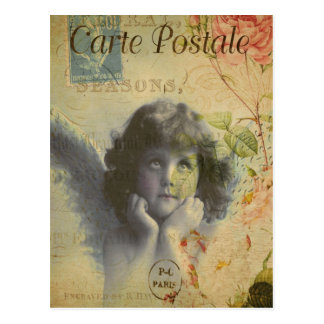 Vintage Christmas Angel From Paris, France Postcard