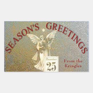 Vintage Christmas Angel Gold Season's Greetings Rectangular Sticker
