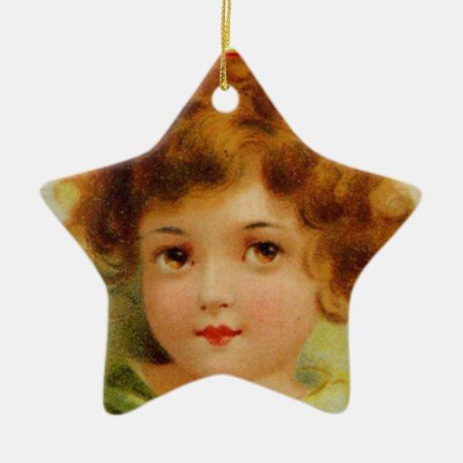 Vintage Christmas Angel Green and Red Christmas Tree Ornament