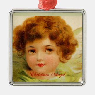 Vintage Christmas Angel Green and Red Silver-Colored Square Decoration