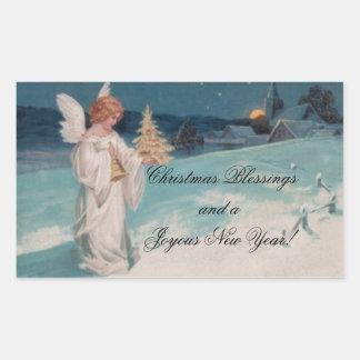Vintage Christmas Angel Rectangular Sticker