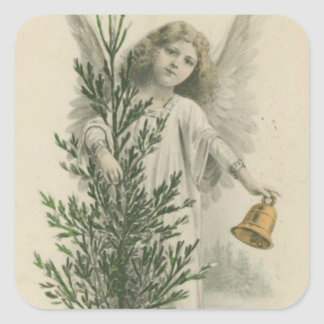 Vintage Christmas Angel Square Sticker