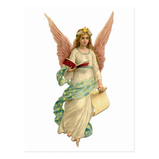 Vintage Christmas Angel With Book Postcard