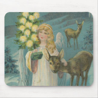 Vintage Christmas Angel with Deer Mouse Pad