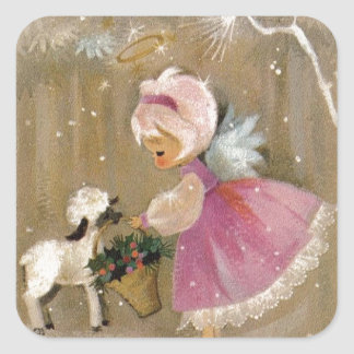 Vintage Christmas Angel With Lamb Square Sticker