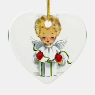 Vintage Christmas Angel Wrapping Gift Ceramic Heart Decoration