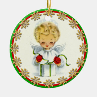 Vintage Christmas Angel Wrapping Gift Round Ceramic Decoration