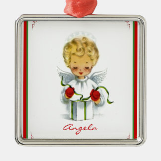 Vintage Christmas Angel Wrapping Gift Silver-Colored Square Decoration