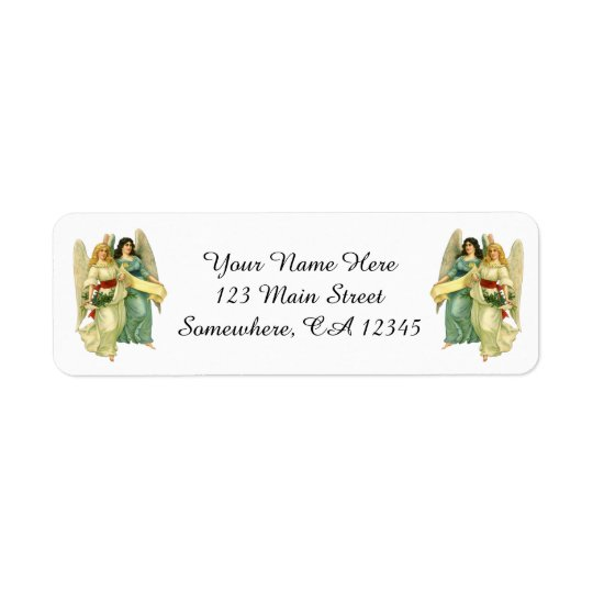 Vintage Christmas, Angelic Victorian Angels Return Address Label