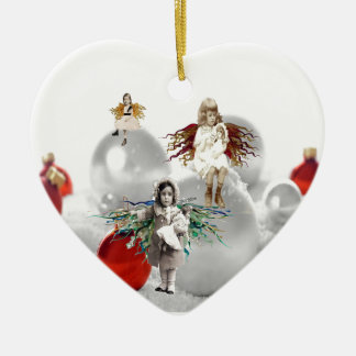 vintage christmas angels ceramic heart decoration