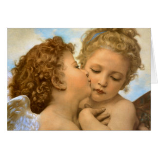 Vintage Christmas Angels, First Kiss by Bouguereau Card