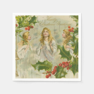 Vintage Christmas Angels with Wreath Disposable Napkin