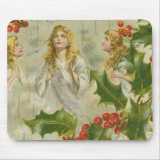 Vintage Christmas Angels with Wreath Mouse Pad