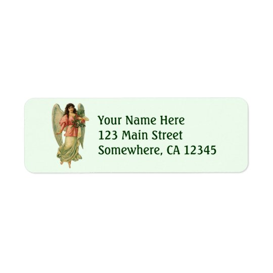 Vintage Christmas, Antique Victorian Angel Return Address Label