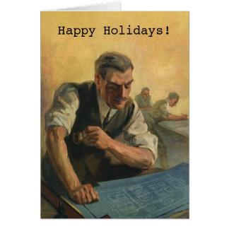 Vintage Christmas, Architect w Building Blueprints Card