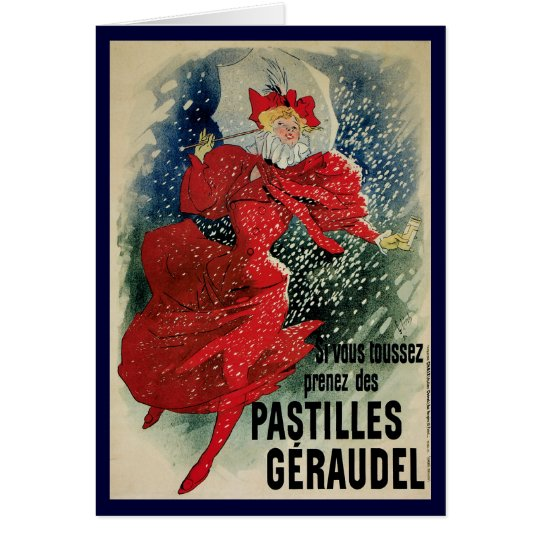 Vintage Christmas, Art Nouveau Poster Art Card