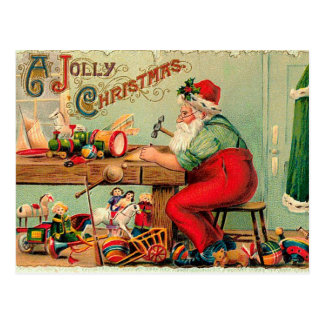 Vintage Christmas at Santa's Workshop Postcard