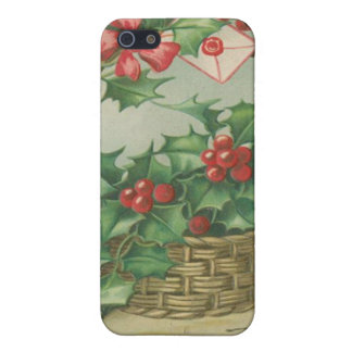 Vintage Christmas Basket with Holly iPhone 5/5S Cases